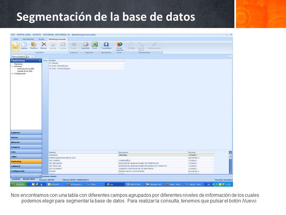 Nos encontramos con una tabla con diferentes campos agrupados por diferentes niveles de información de los cuales podemos elegir para segmentar la base de datos.