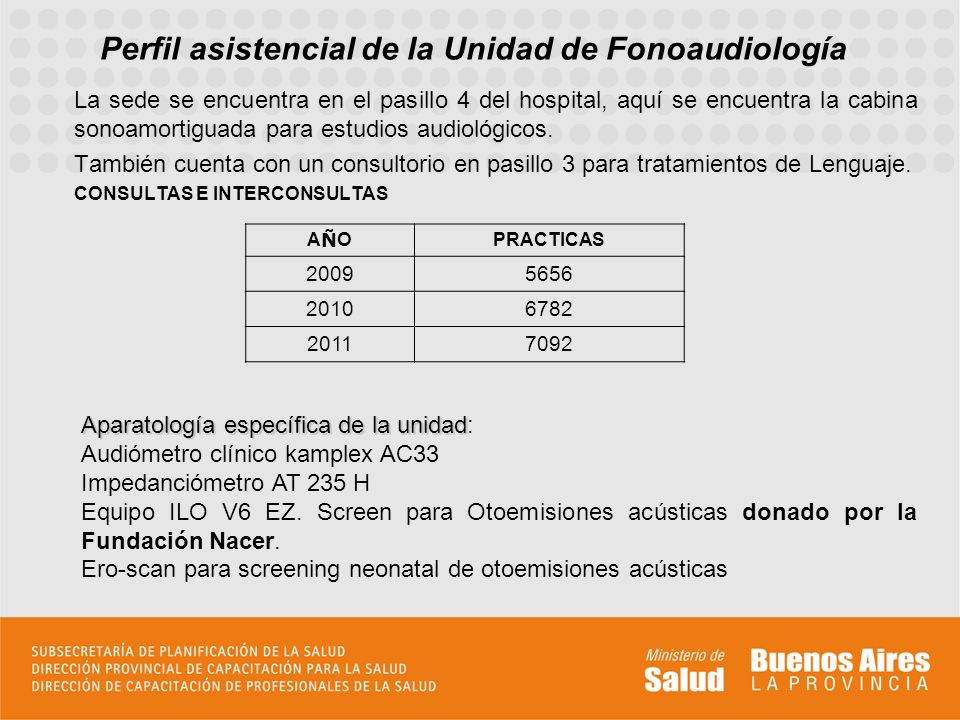 Perfil asistencial de la Unidad de Fonoaudiología Las principales demandas se centran en: Rastreo universal neonatal de la hipoacusia (otoemisiones acústicas).