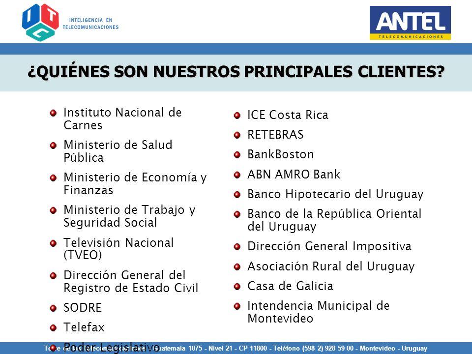 Torre de las Telecomunicaciones - Guatemala 1075 - Nivel 21 - CP 11800 - Teléfono (598 2) 928 59 00 - Montevideo - Uruguay ¿QUIÉNES SON NUESTROS PRINC