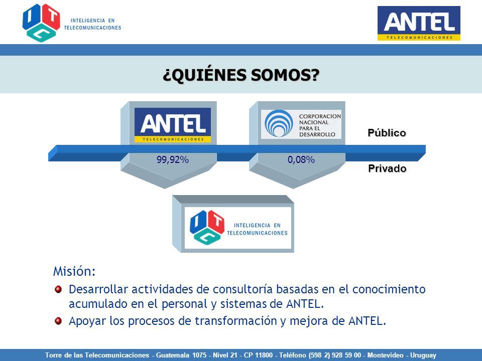 Misión: Desarrollar actividades de consultoría basadas en el conocimiento acumulado en el personal y sistemas de ANTEL. Apoyar los procesos de transfo