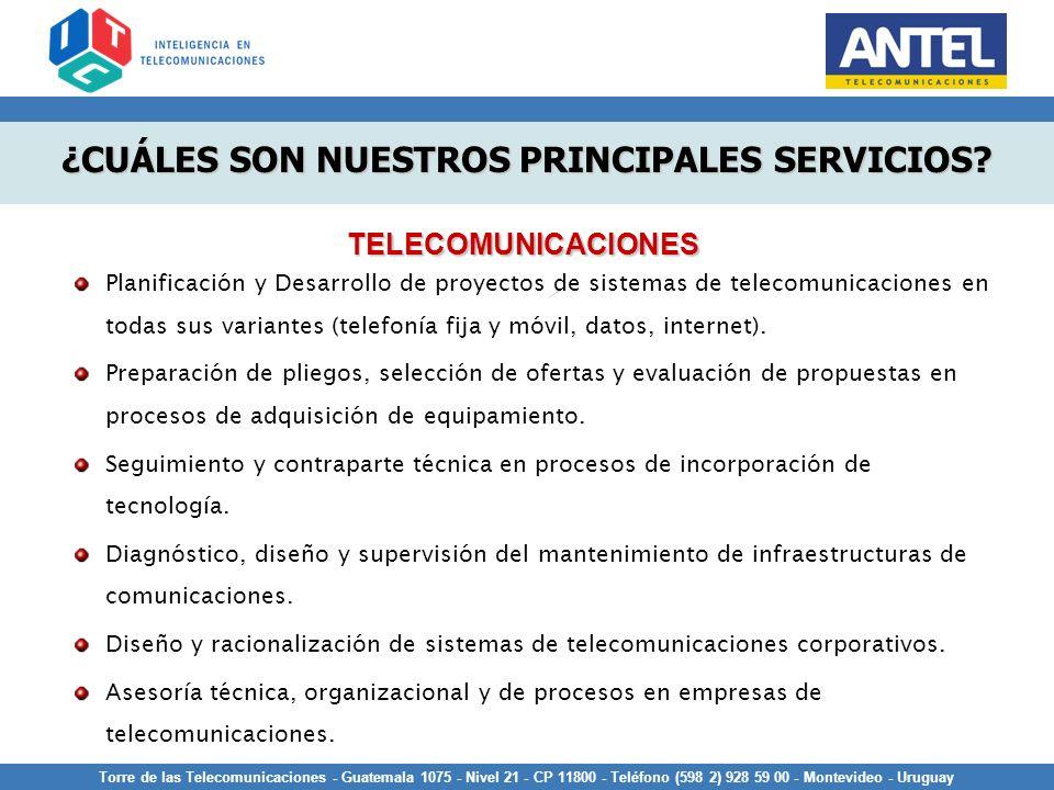 Torre de las Telecomunicaciones - Guatemala 1075 - Nivel 21 - CP 11800 - Teléfono (598 2) 928 59 00 - Montevideo - Uruguay Planificación y Desarrollo