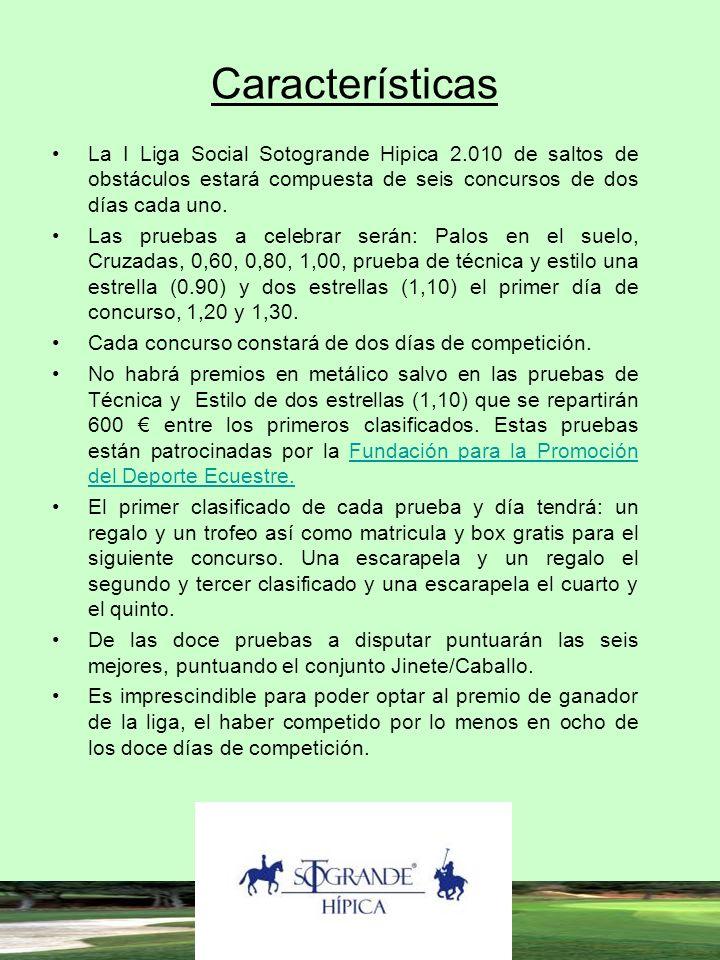 Características La I Liga Social Sotogrande Hipica 2.010 de saltos de obstáculos estará compuesta de seis concursos de dos días cada uno. Las pruebas