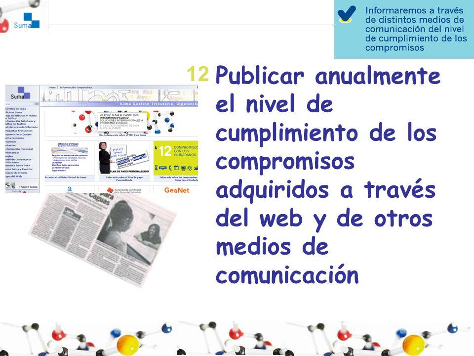 Publicar anualmente el nivel de cumplimiento de los compromisos adquiridos a través del web y de otros medios de comunicación 12