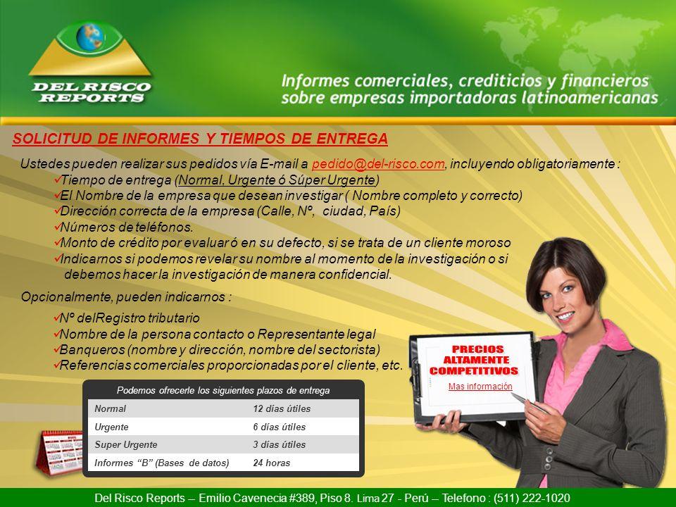 INFORMACION DE CONTACTO DEL RISCO REPORTS EIRL Av.
