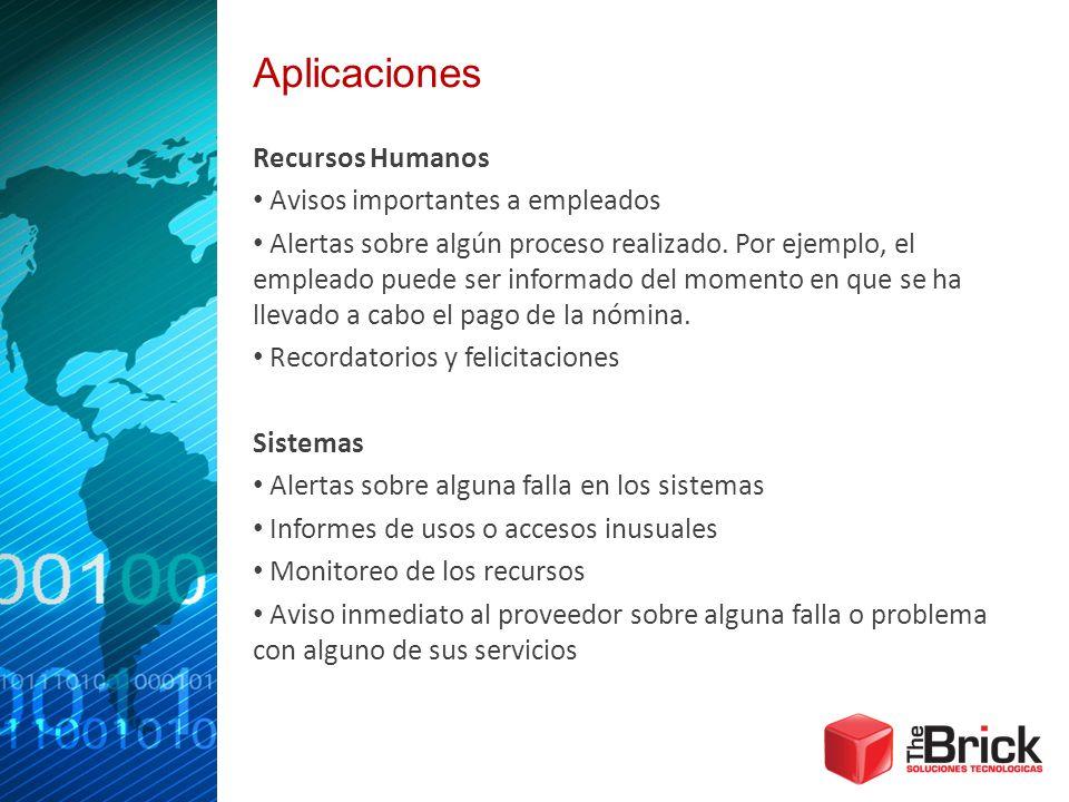 Aplicaciones Recursos Humanos Avisos importantes a empleados Alertas sobre algún proceso realizado. Por ejemplo, el empleado puede ser informado del m