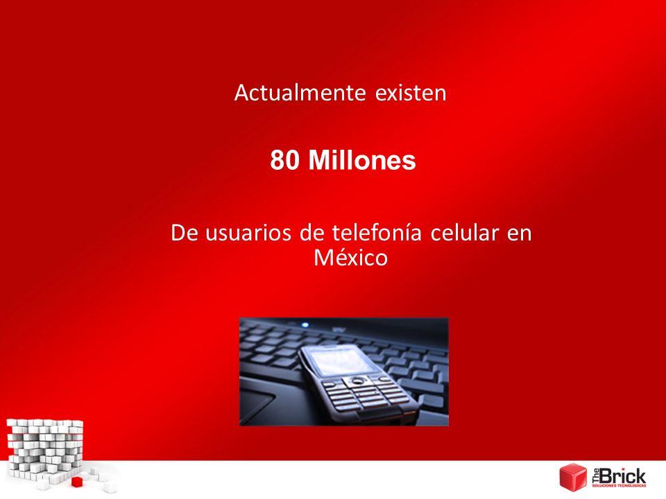 80 Millones Actualmente existen De usuarios de telefonía celular en México