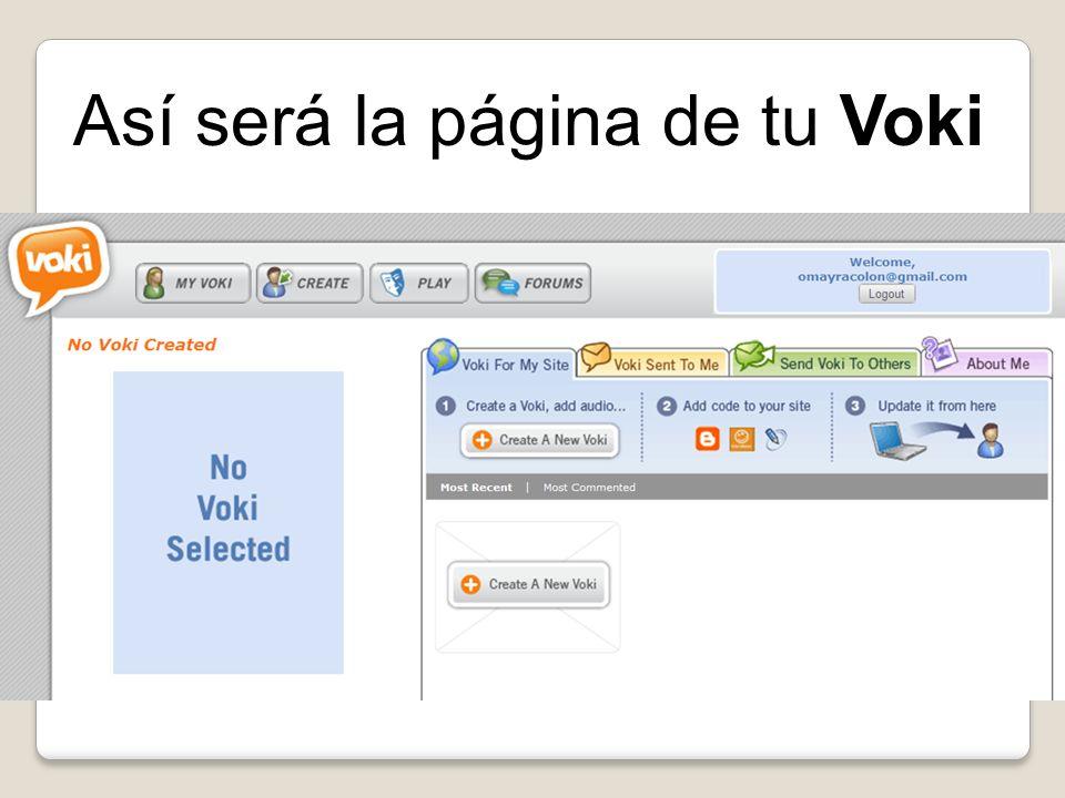Así será la página de tu Voki