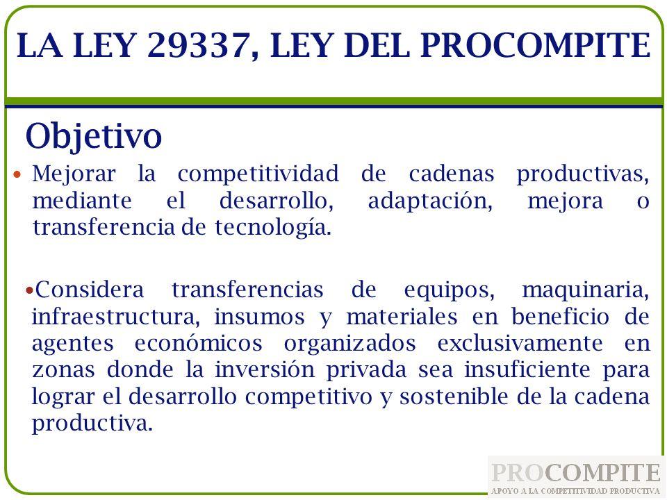 Las Iniciativas de Apoyo a la Competitividad Productiva-PROCOMPITE son ejecutadas, mediante procesos concursables, por los GR y GL.