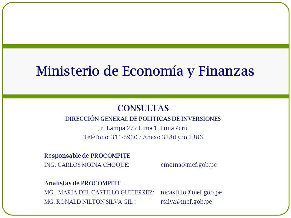 CONSULTAS DIRECCIÓN GENERAL DE POLITICAS DE INVERSIONES Jr. Lampa 277 Lima 1, Lima Perú Teléfono: 311-5930 / Anexo 3380 y/o 3386 Responsable de PROCOM