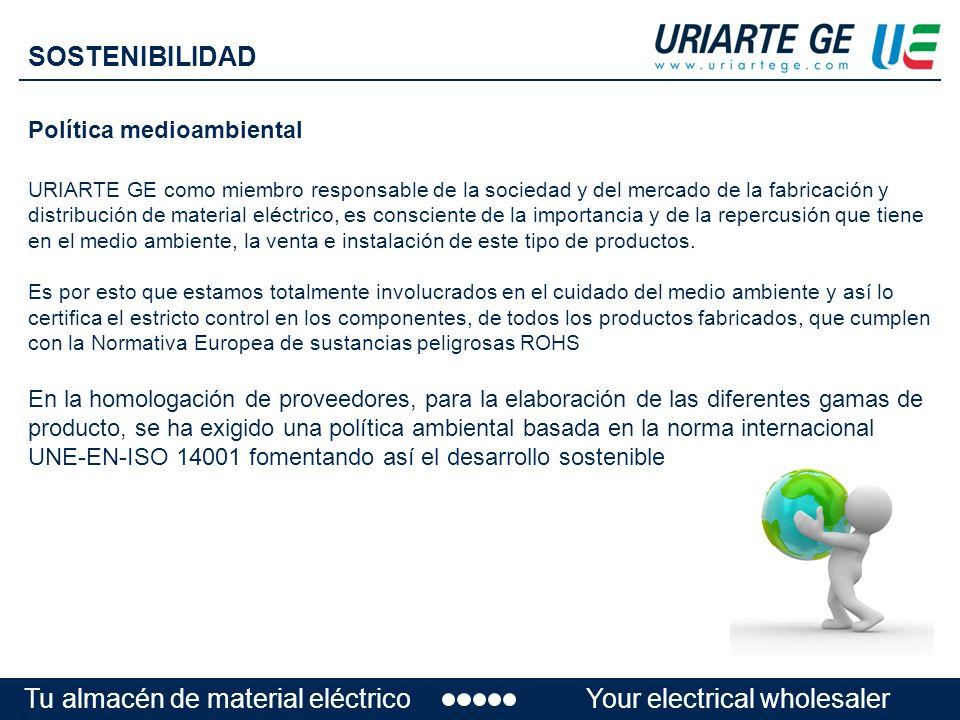 Política medioambiental URIARTE GE como miembro responsable de la sociedad y del mercado de la fabricación y distribución de material eléctrico, es consciente de la importancia y de la repercusión que tiene en el medio ambiente, la venta e instalación de este tipo de productos.