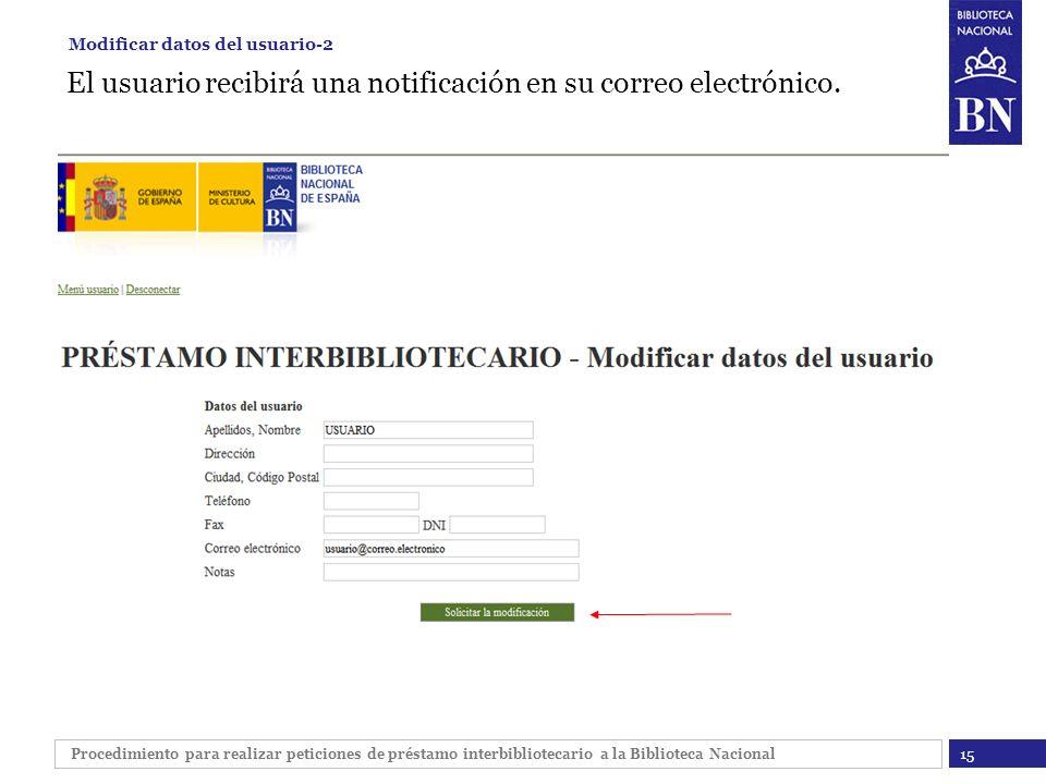 Procedimiento para realizar peticiones de préstamo interbibliotecario a la Biblioteca Nacional El usuario recibirá una notificación en su correo elect