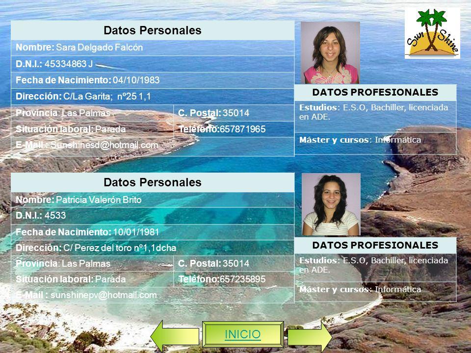 Datos Personales Nombre: Patricia Valerón Brito D.N.I.: 4533 Fecha de Nacimiento: 10/01/1981 Dirección: C/ Perez del toro nº1,1dcha Provincia: Las PalmasC.