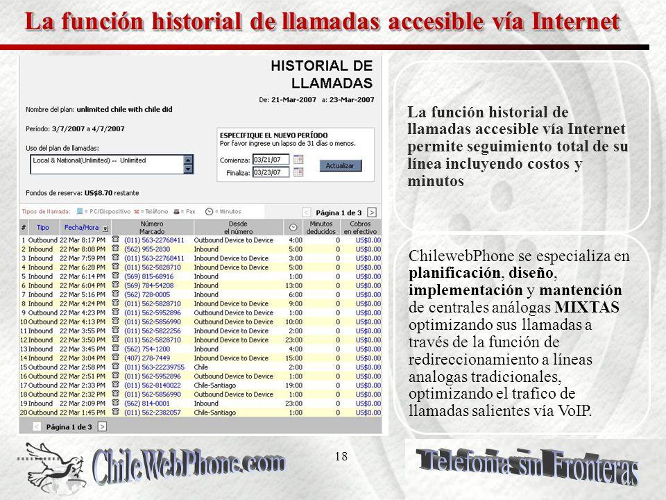 17 La función historial de llamadas accesible vía Internet La función historial de llamadas accesible vía Internet permite seguimiento total de su lín