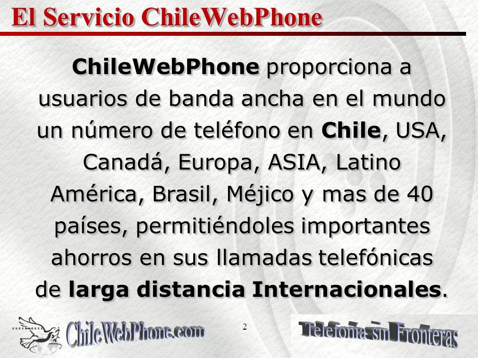 22 PLANES DE LLAMADO El servicio ChileWebPhone es un servicio pagado por adelantado o anticipado que ofrece una variedad amplia de planes de llamado que satisfacen las necesidades de comunicación de varios tipos de usuarios.
