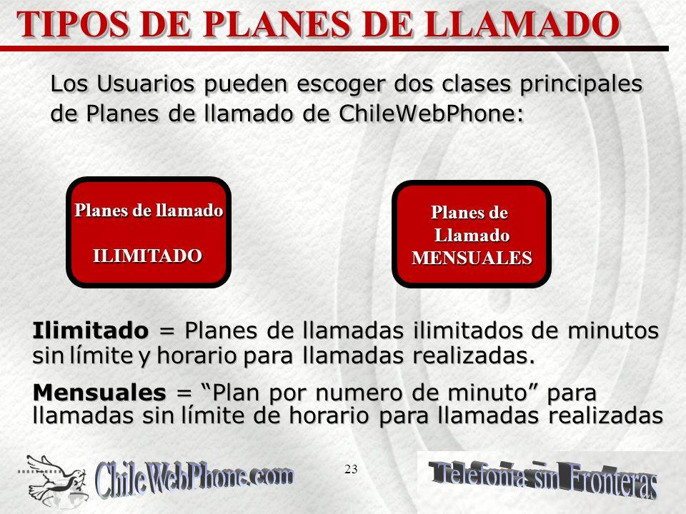 22 PLANES DE LLAMADO El servicio ChileWebPhone es un servicio pagado por adelantado o anticipado que ofrece una variedad amplia de planes de llamado q