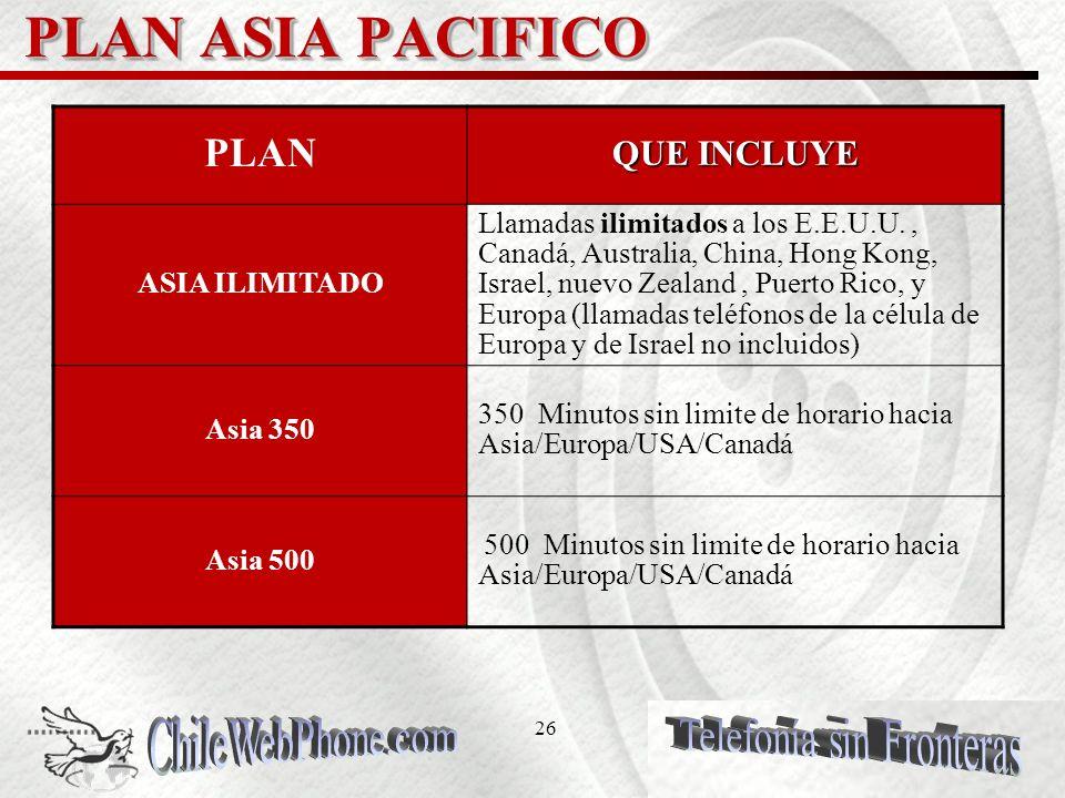 25 PLAN Chile EspañaUSA CANADA PLAN Chile España USA CANADA PLAN QUE INCLUYE Chile/ España /Argentina /Lima/USA/ ILIMITADO Minutos sin límite y horari