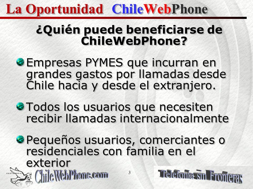 2 El Servicio ChileWebPhone ChileWebPhone proporciona a usuarios de banda ancha en el mundo un número de teléfono en Chile, USA, Canadá, Europa, ASIA, Latino América, Brasil, Méjico y mas de 40 países, permitiéndoles importantes ahorros en sus llamadas telefónicas de larga distancia Internacionales.