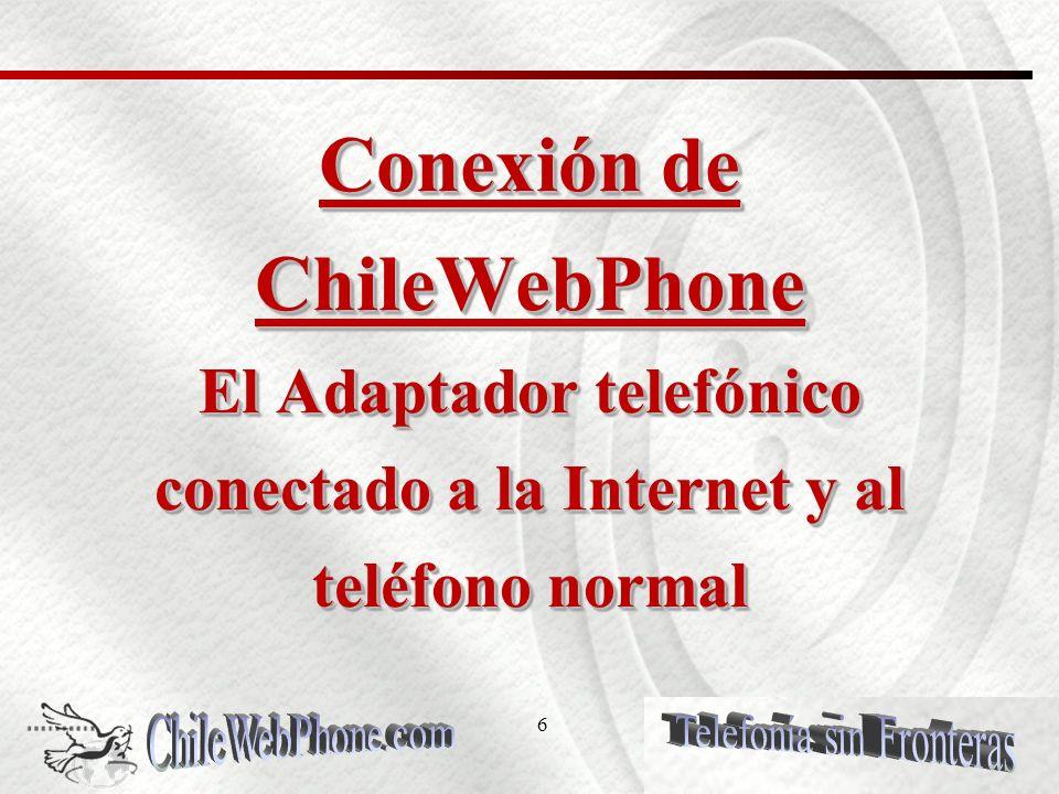 5 Ventajas de Economía en los costos ChileWebPhone proporciona ahorros en las llamadas; tarifas fijas en Planes de llamadas ilimitadas con numero telefónico incluido o pago por minuto: Con la adquisición de un número telefónico Virtual Internacional, los clientes de ChileWebPhone permitirán a sus contactos, familiares y/o amigos Internacionales, ahorrar en sus llamadas.