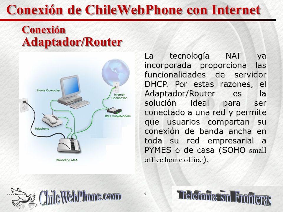 9 Conexión de ChileWebPhone con Internet Conexión Adaptador/Router La tecnología NAT ya incorporada proporciona las funcionalidades de servidor DHCP.