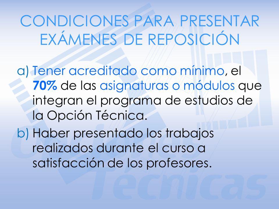 EXÁMENES DE REPOSICIÓN Constituyen una oportunidad de concluir la Opción Técnica, para los alumnos que no acreditaron algún módulo o asignatura.