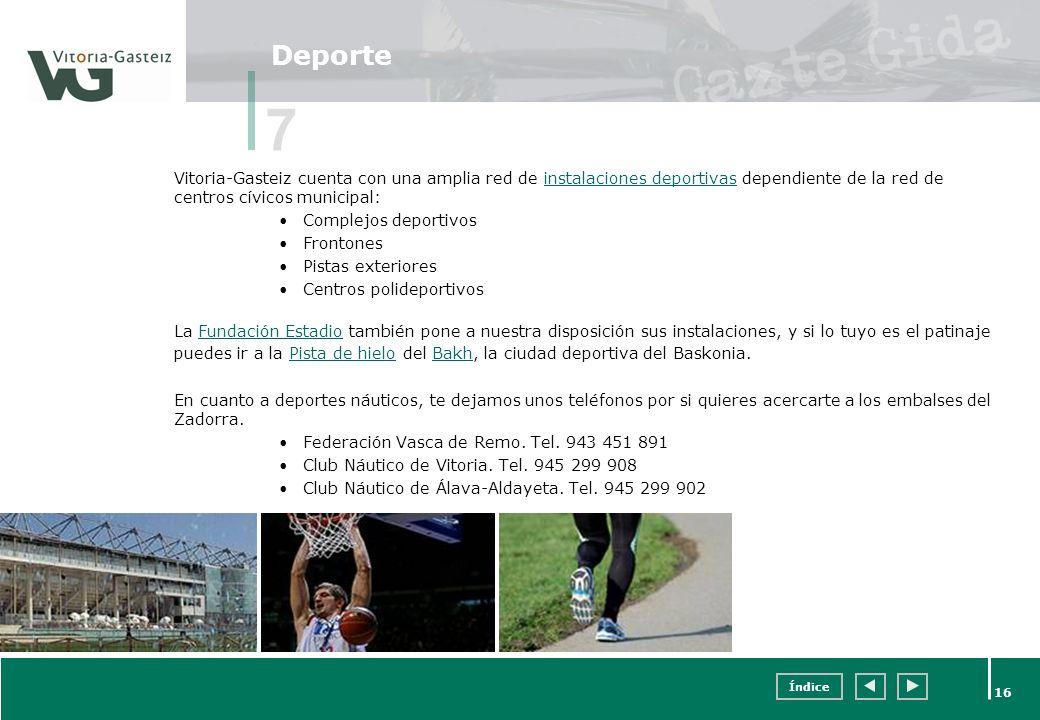 Índice 16 Deporte Vitoria-Gasteiz cuenta con una amplia red de instalaciones deportivas dependiente de la red de centros cívicos municipal:instalacion