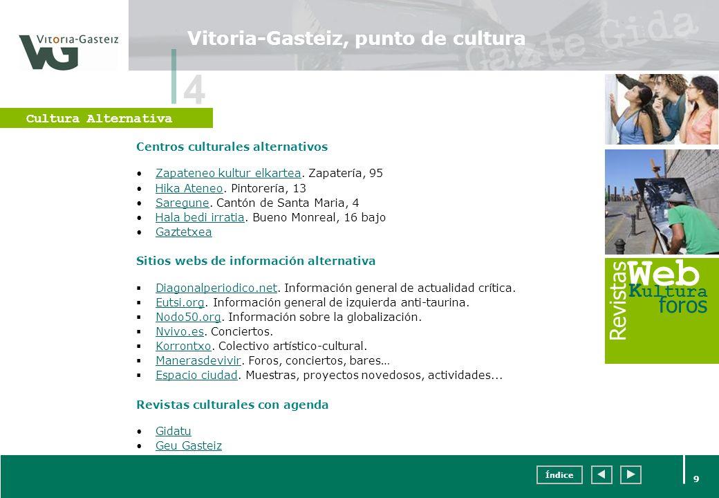 Índice 9 Vitoria-Gasteiz, punto de cultura Centros culturales alternativos Zapateneo kultur elkartea. Zapatería, 95Zapateneo kultur elkartea Hika Aten