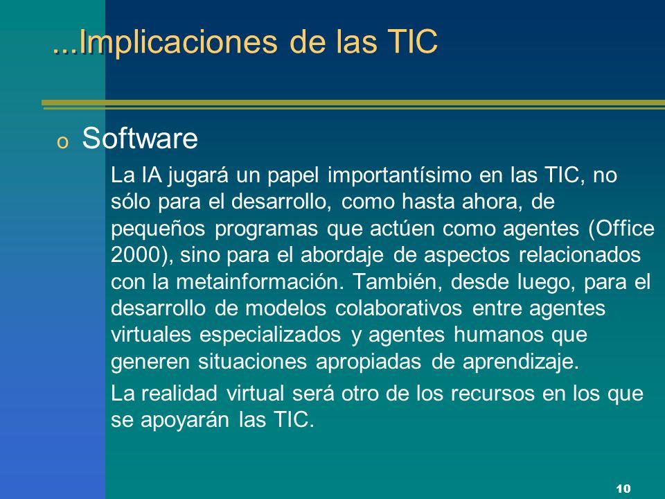10...Implicaciones de las TIC o Software La IA jugará un papel importantísimo en las TIC, no sólo para el desarrollo, como hasta ahora, de pequeños programas que actúen como agentes (Office 2000), sino para el abordaje de aspectos relacionados con la metainformación.