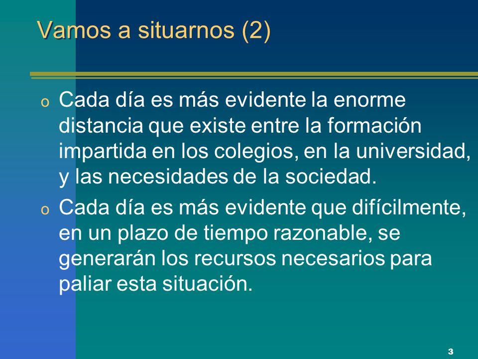 4 Vamos a situarnos (3) o La única solución es hacer converger esfuerzos de iniciativas nacionales, europeas, particulares, etc.