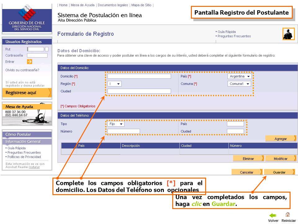 El sistema le enviará un correo electrónico a la dirección especificada por usted, en el encontrara la contraseña inicial con la cual ingresar a su pagina personal Volver Reiniciar
