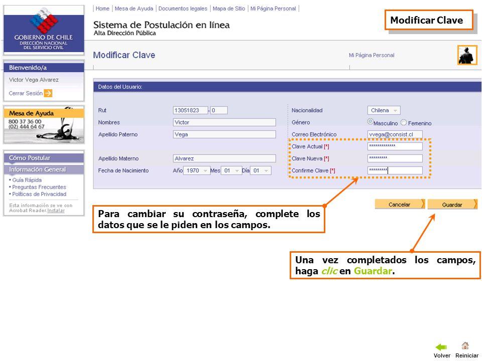 Para cambiar su correo electrónico, complete los datos que se le piden en los campos.
