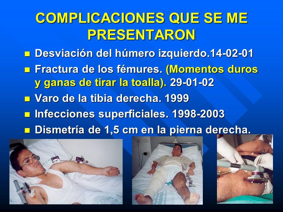 COMPLICACIONES QUE SE ME PRESENTARON Desviación del húmero izquierdo.14-02-01 Desviación del húmero izquierdo.14-02-01 Fractura de los fémures. (Momen