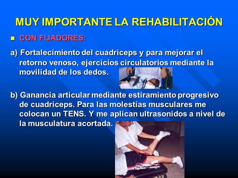MUY IMPORTANTE LA REHABILITACIÓN CON FIJADORES: CON FIJADORES: a) Fortalecimiento del cuadriceps y para mejorar el retorno venoso, ejercicios circulat