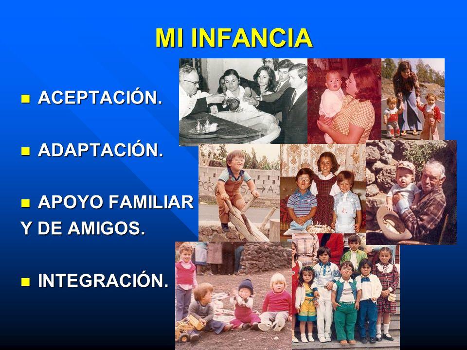 MI INFANCIA ACEPTACIÓN. ACEPTACIÓN. ADAPTACIÓN. ADAPTACIÓN. APOYO FAMILIAR APOYO FAMILIAR Y DE AMIGOS. INTEGRACIÓN. INTEGRACIÓN.