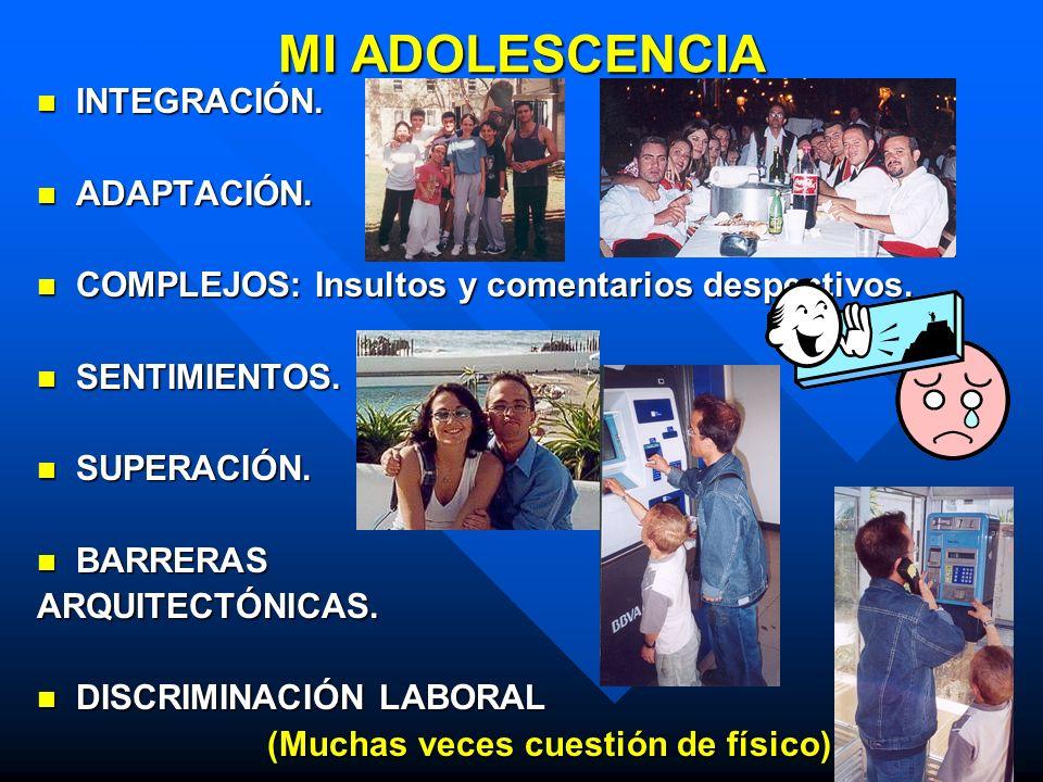 ALGUNOS MOMENTOS DE MI ADOLESCENCIA BUENA INTEGRACIÓN SOCIAL BUENA INTEGRACIÓN SOCIAL