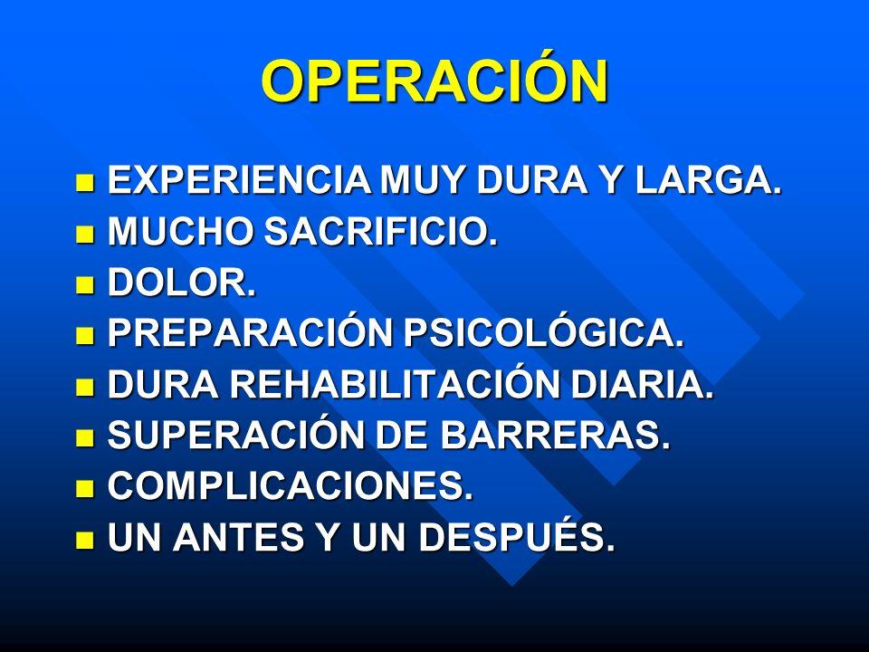 OPERACIÓN EXPERIENCIA MUY DURA Y LARGA. EXPERIENCIA MUY DURA Y LARGA. MUCHO SACRIFICIO. MUCHO SACRIFICIO. DOLOR. DOLOR. PREPARACIÓN PSICOLÓGICA. PREPA