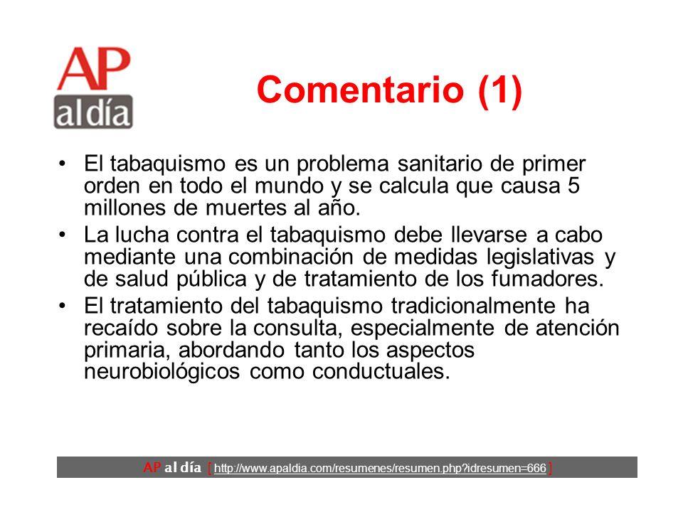 AP al día [ http://www.apaldia.com/resumenes/resumen.php?idresumen=666 ] Comentario (1) El tabaquismo es un problema sanitario de primer orden en todo