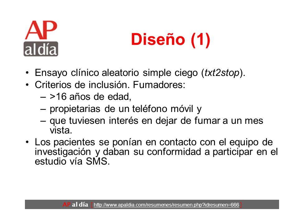 AP al día [ http://www.apaldia.com/resumenes/resumen.php?idresumen=666 ] Diseño (1) Ensayo clínico aleatorio simple ciego (txt2stop). Criterios de inc