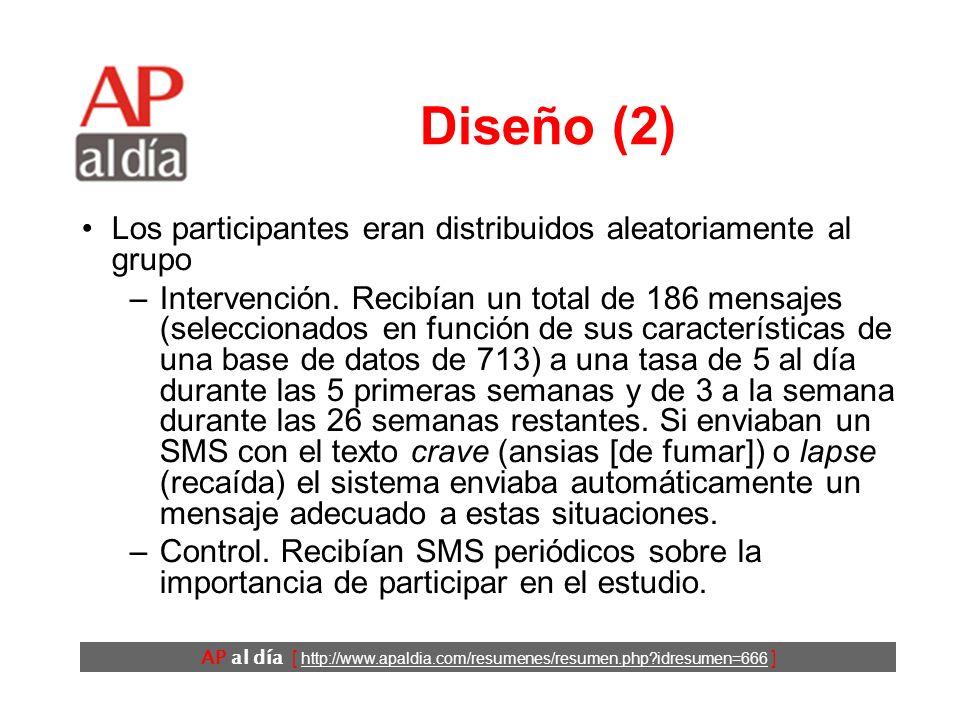 AP al día [ http://www.apaldia.com/resumenes/resumen.php idresumen=666 ] Diseño (2) Los participantes eran distribuidos aleatoriamente al grupo –Intervención.