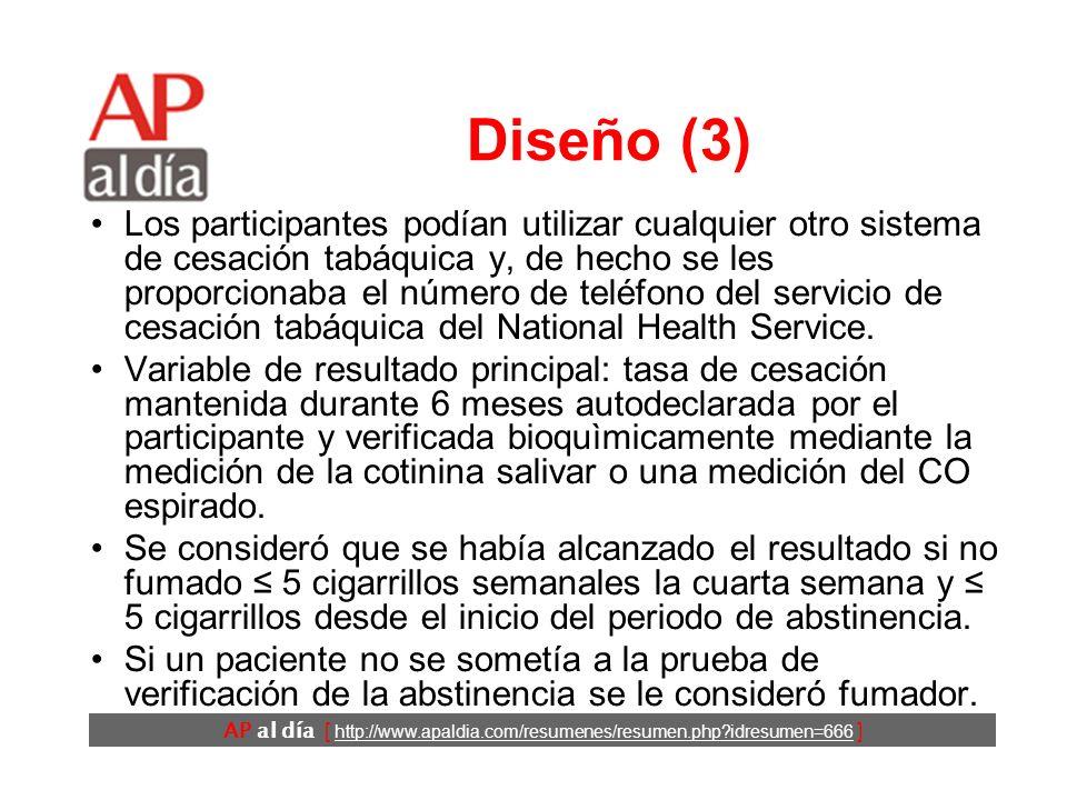AP al día [ http://www.apaldia.com/resumenes/resumen.php idresumen=666 ] Diseño (3) Los participantes podían utilizar cualquier otro sistema de cesación tabáquica y, de hecho se les proporcionaba el número de teléfono del servicio de cesación tabáquica del National Health Service.