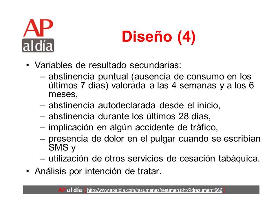 AP al día [ http://www.apaldia.com/resumenes/resumen.php?idresumen=666 ] Diseño (4) Variables de resultado secundarias: –abstinencia puntual (ausencia