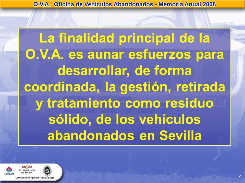 2 La finalidad principal de la O.V.A. es aunar esfuerzos para desarrollar, de forma coordinada, la gestión, retirada y tratamiento como residuo sólido
