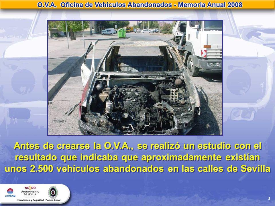 3 Antes de crearse la O.V.A., se realizó un estudio con el resultado que indicaba que aproximadamente existían unos 2.500 vehículos abandonados en las