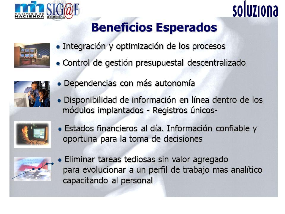 Beneficios Esperados Integración y optimización de los procesos Integración y optimización de los procesos Control de gestión presupuestal descentrali
