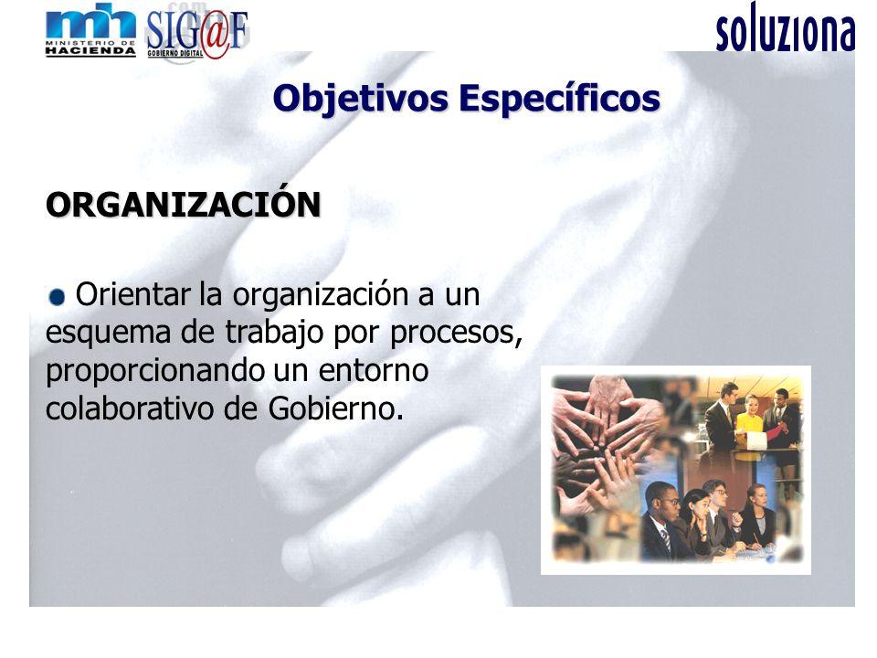 Objetivos Específicos ORGANIZACIÓN Orientar la organización a un esquema de trabajo por procesos, proporcionando un entorno colaborativo de Gobierno.