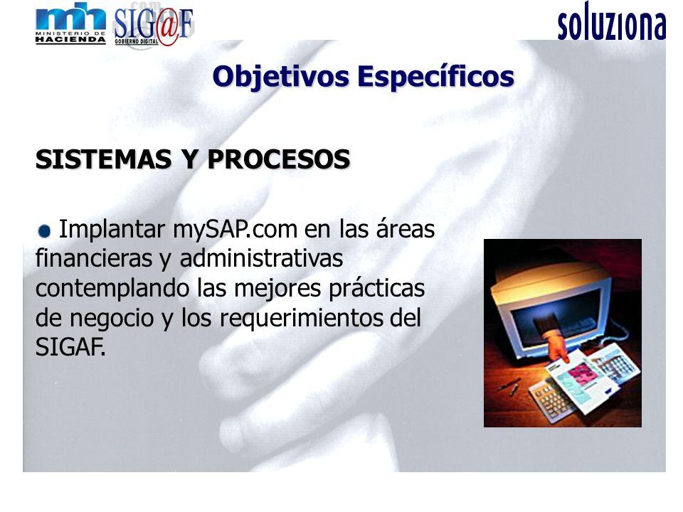 SISTEMAS Y PROCESOS Implantar mySAP.com en las áreas financieras y administrativas contemplando las mejores prácticas de negocio y los requerimientos del SIGAF.