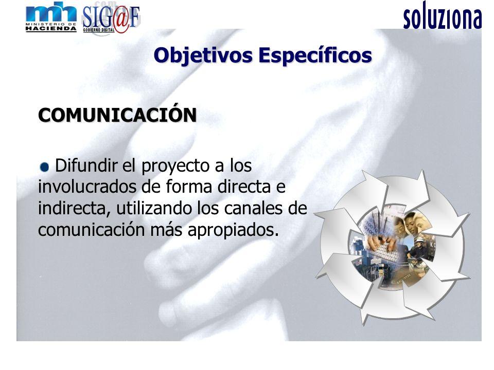 COMUNICACIÓN Difundir el proyecto a los involucrados de forma directa e indirecta, utilizando los canales de comunicación más apropiados. Objetivos Es