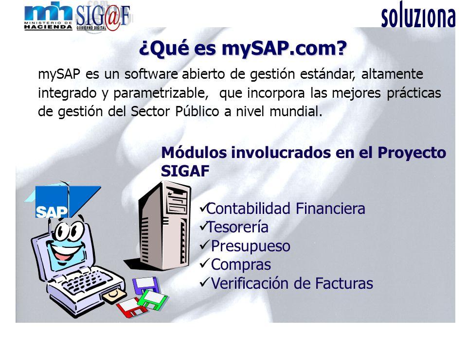 ¿Qué es mySAP.com? ¿Qué es mySAP.com? mySAP es un software abierto de gestión estándar, altamente integrado y parametrizable, que incorpora las mejore