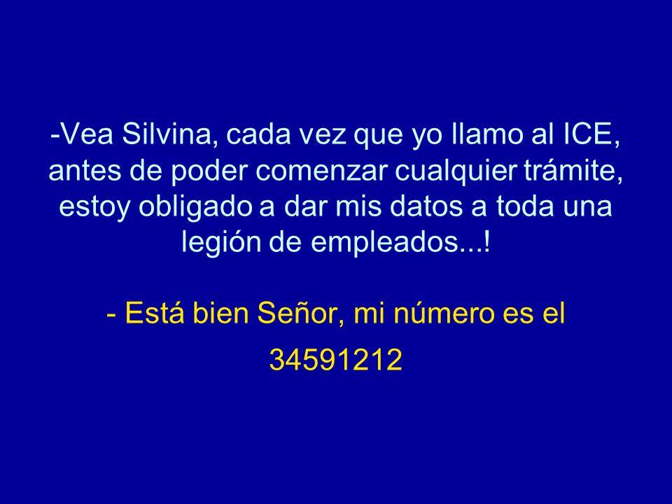 -Vea Silvina, cada vez que yo llamo al ICE, antes de poder comenzar cualquier trámite, estoy obligado a dar mis datos a toda una legión de empleados..