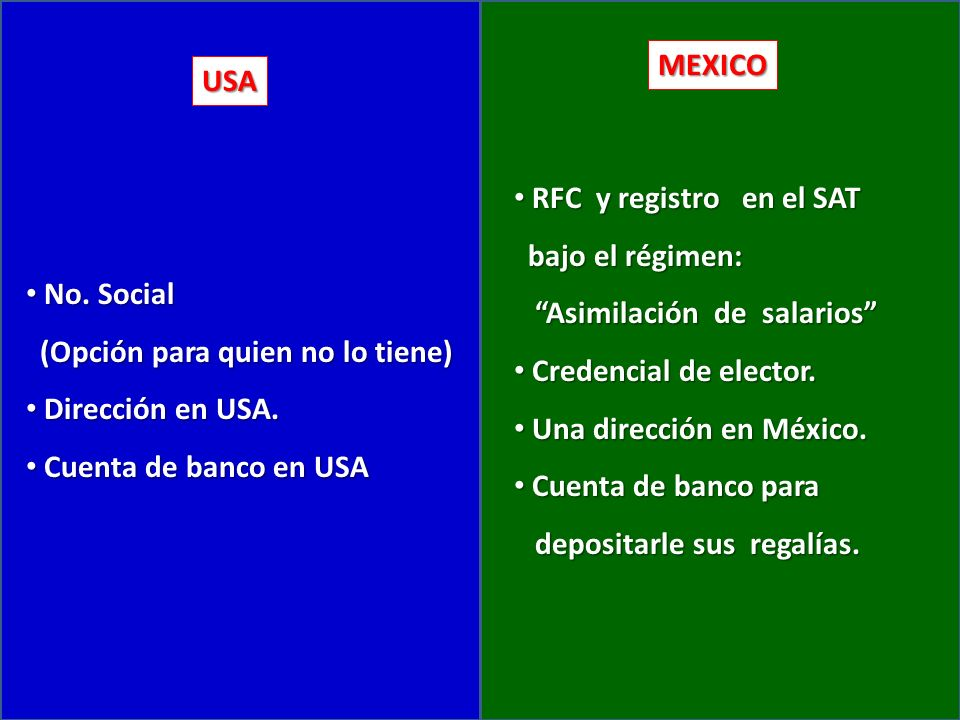 USA MEXICO No. Social No.