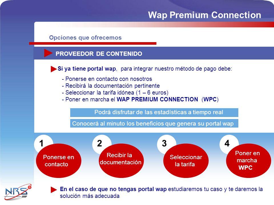 Opciones que ofrecemos PROVEEDOR DE CONTENIDO - Ponerse en contacto con nosotros - Recibirá la documentación pertinente - Seleccionar la tarifa idónea